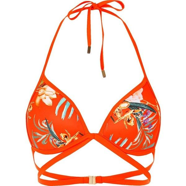 River Island Orange floral print strappy bikini top ($32) ❤ liked on Polyvore featuring swimwear, bikinis, bikini tops, bathing suit, orange, swimwear / beachwear, women, floral bikini, swimsuit tops and triangle swimwear