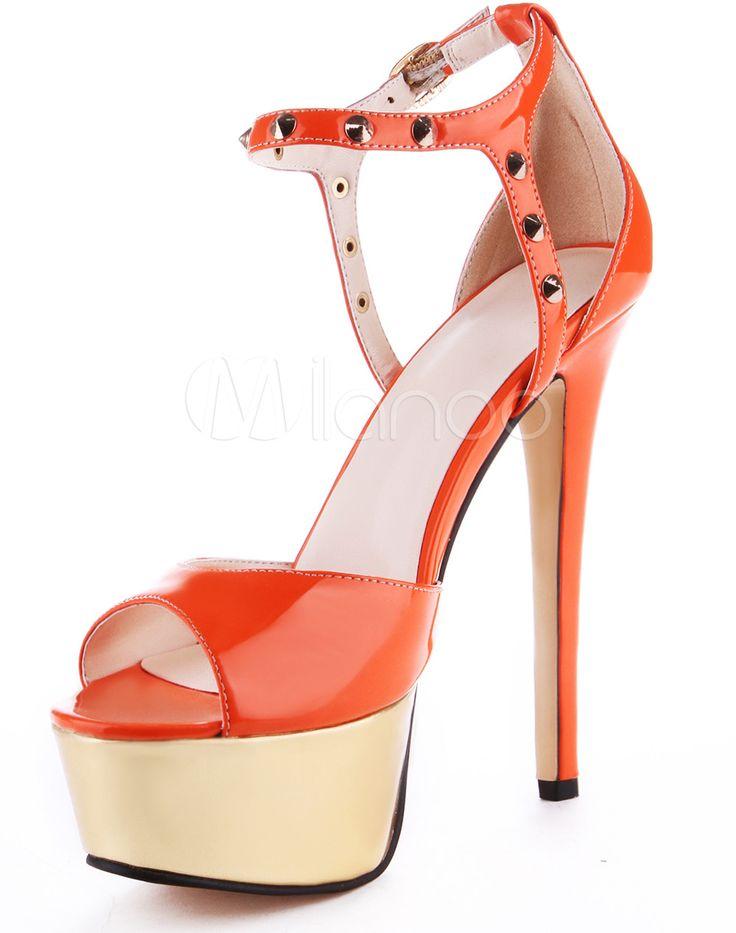 #Milanoo.com Ltd          #Platform Sandals         #Orange #Rivet #Ankle #Strap #Leather #Dress #Sandals #Woman                  Orange Rivet Ankle Strap PU Leather Dress Sandals For Woman                                             http://www.seapai.com/product.aspx?PID=5716209
