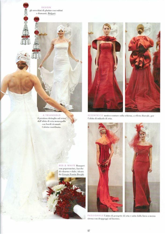 Elle - settembre 2014 >> red & white: insoliti modelli di #ElisabettaPolignano color rosso cardinale per un matrimonio passionale o eccentrico