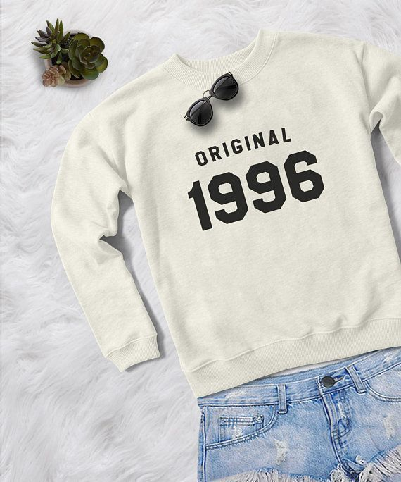 Original 1996 22th Birthday Sweatshirt Crewneck Sweater Unisex Graphic Print Fall Fashion Women Teenage Girls Gift Ideas