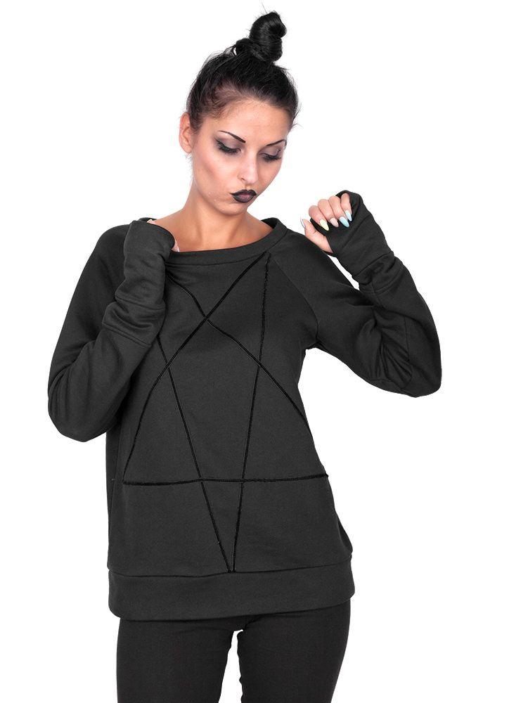 bluza damska AMENOMEN - PENTAGRAM  Oryginalna, licencyjna bluza AMENOMEN  Aplikacja pentagram - pentagram naszyty na przodzie bluzy - taśma aksamitna #amenomen #desirebrand #black #occult #alternativegirl #pentagram