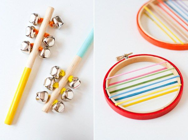 Homemade instruments. Bells hooked to a dowel and rubber bands on an embroidery hoop.