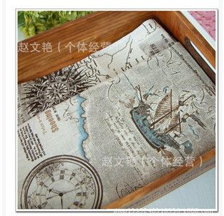 Vintage nautical maps Patchwork Painting Hemp Cotton Linen Fabric for Sewing Textiles Curtain Cloth 150 * 100cm