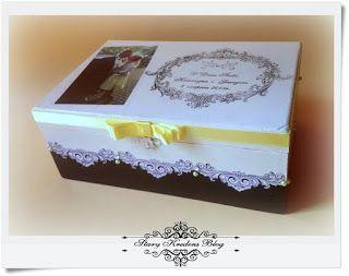 Pudełka na prezenty ślubne : biel , czerń i żółta wstążka.Print room.Decoupage.