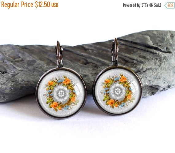 ON SALE Flower ornament dangle earrings, colorful ornament picture earrings, art photo earrings, image glass cabochon earrings, gift for her