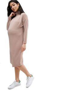 Бежевое платье в рубчик для будущих мам Asos Maternity