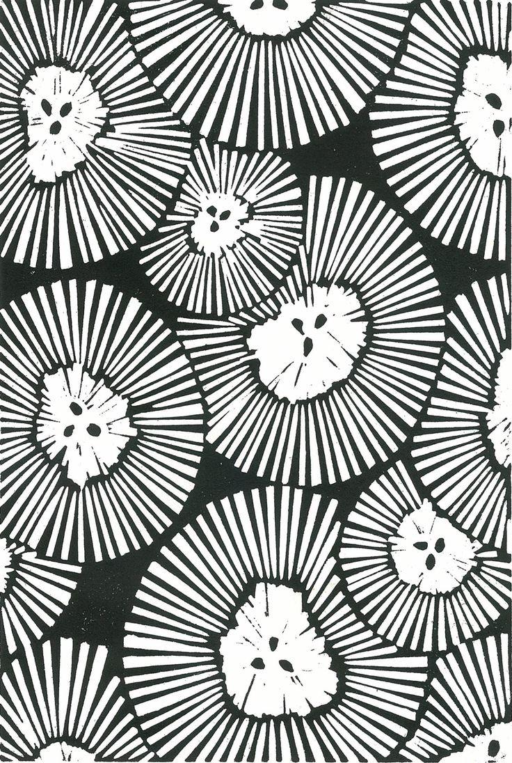 CRHYSANTHEMUMS Lino Print