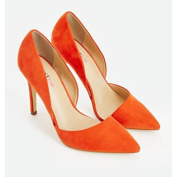 Justfab Pumps Amiyah ($40) ❤️ liked on Polyvore featuring shoes, pumps, heels, orange, d'orsay pumps, pointy toe pumps, pointed toe pumps, orange shoes and platform shoes