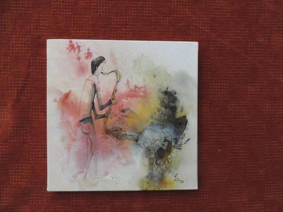 Peinture A L Acrylique Aquarelle Et Encre Marron Et Bronze Et