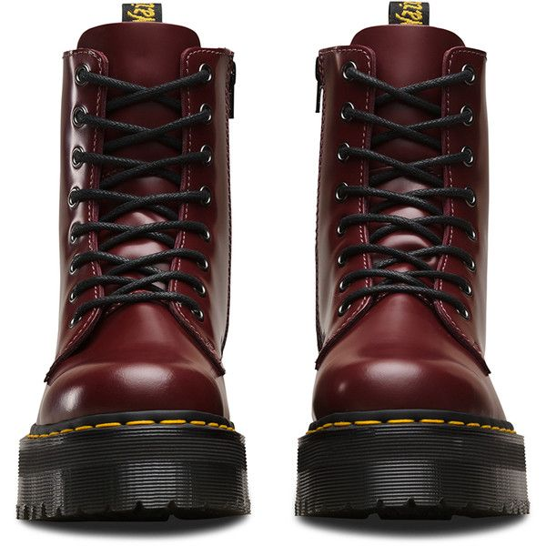 Dr. Martens Leather Jadon Platform Boots (3,020 MXN) ❤ liked on Polyvore featuring shoes, boots, red, metallic boots, slip resistant shoes, dr martens boots, military-style boots and platform boots