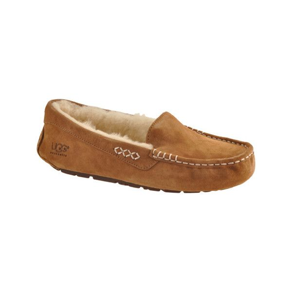 Women's UGG Ansley Moccasin - Chestnut Casual ($100) ❤ liked on Polyvore featuring shoes, loafers, brown, casual, casual shoes, light weight shoes, mocassin shoes, moccasin style shoes, brown shoes and ugg shoes