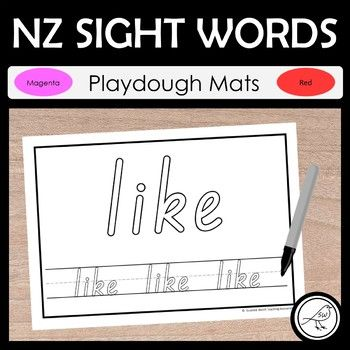 Playdough mats for magenta and red sight words. Print and laminate the sheets. Students make each letter of the word using playdough and place it on top of the letters at the top of the sheet. Then they trace the word at the bottom of the sheet using a dry-erase marker.