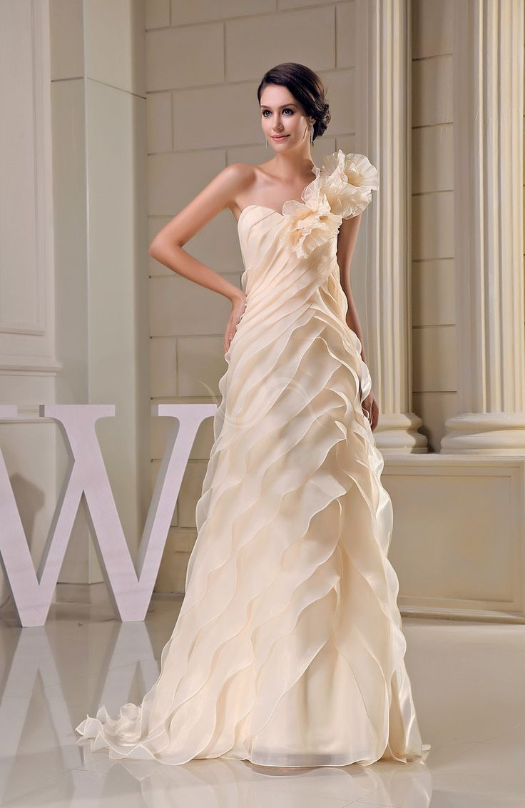 Romantic Church A-line Organza Brush Train Tiered Bridal Gowns