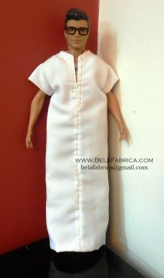 Miniature Doll Outfit Moroccan White Gandora Male Algerian outfit
