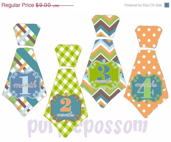ON SALE Baby Tie Month Stickers Monthly Tie Sticker Monthly Baby Boy Stickers Baby Boy Milestone Stickers Bodysuit Stickers Baby Stickers UN