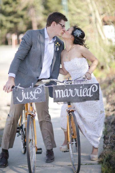 Mammoth DIY Wedding: Bike themed wedding  www.joyfulweddingsandevents.com