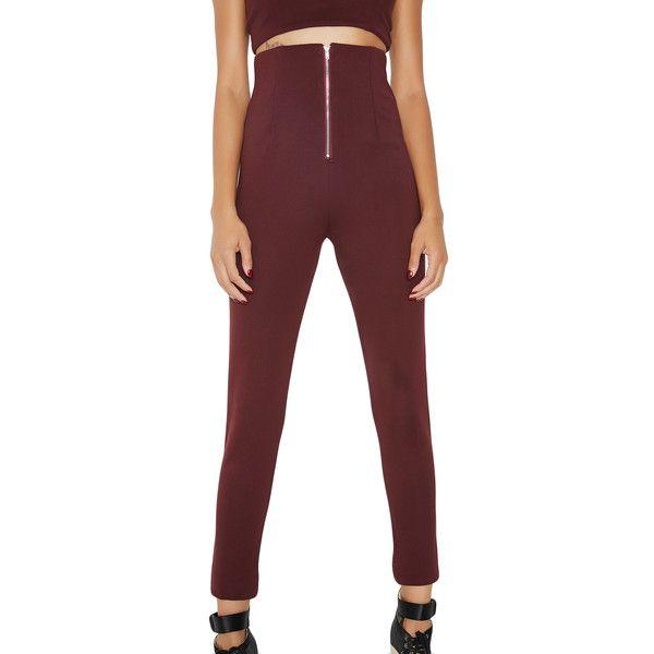 Purple High Waisted Stretchy Pants ($38) ❤ liked on Polyvore featuring pants, stretchy pants, zipper pants, high waisted skinny trousers, purple skinny pants and high waisted pants
