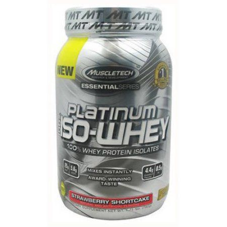 MuscleTech 100% Platinum Iso-Whey, Strawberry Shortcake, 1.79 LB