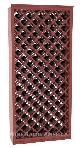 "Five Star Series: 95 Bottle Individual Diamond Wine Bin Wine Cellar Rack Storage Kit in Pine with Cherry Stain +Satin Finish by Wine Racks America®. $790.25. Bottle capacity: 95 bottles (750ml). 11/16"" wood thickness.. Made from eco-friendly wood sources in sustainable forests. Money Back Guarantee + Lifetime Warranty. Industry 1-1/2"" toe-kick keeps your wine off the floor. Some assembly required. An Individual Diamond Wine Bin from the Five Star Series provides gr..."