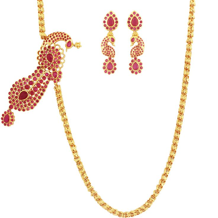 SthriElite Fashionable Gold Plated Ruby Stone Mope Chain MOP-CHN-011-120