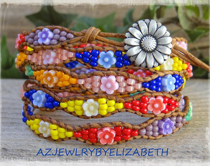 Beaded Leather Wrap Bracelet/ Seed Bead Leather Bracelet/ Flower Wrap Bracelet/ Boho Wrap Bracelet/ Beaded Wrap Bracelet/ Bohemian Bracelet.