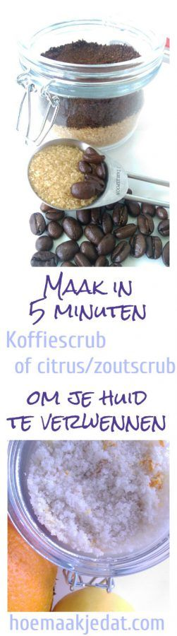 Verwen je huid met deze heerlijke koffiescrub of citrus/zout scrub. You can read much more DIY skincare recipes on our blog