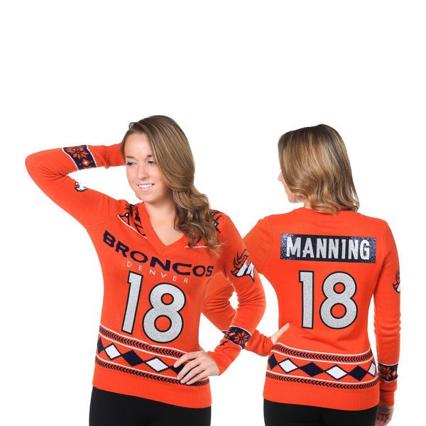 Peyton Manning Denver Broncos Klew Women's Name and Number Ugly V-Neck Sweater - Orange - $39.99