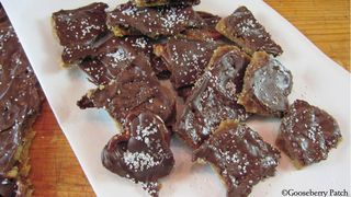 Vickie's Toffee-Pretzel Bark - from Gooseberry Patch -- http://gooseberrypatch.typepad.com/blog/vickies-toffee-pretzel-bark-recipe.html#.UreUIPRDt8E