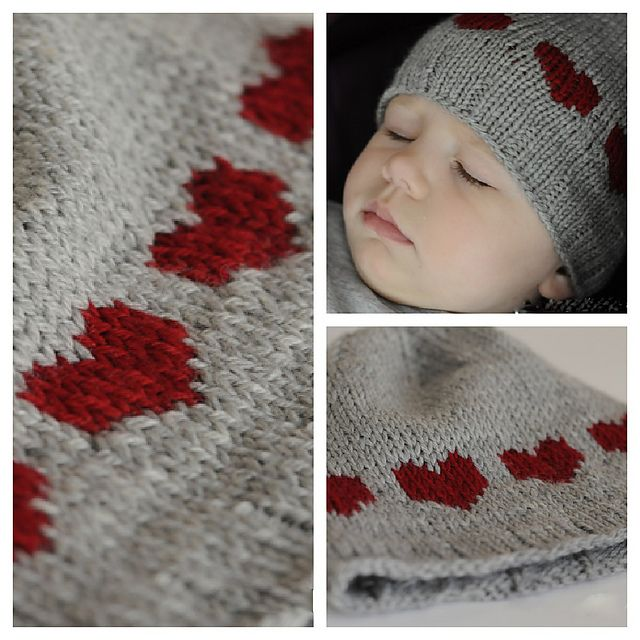 Ravelry: Heart Hat for Baby pattern by Eba Design. Knit in Cascade 220 Superwash Sport: http://metaphoryarns.com/category/220-Superwash-Sport/2SWS/page1