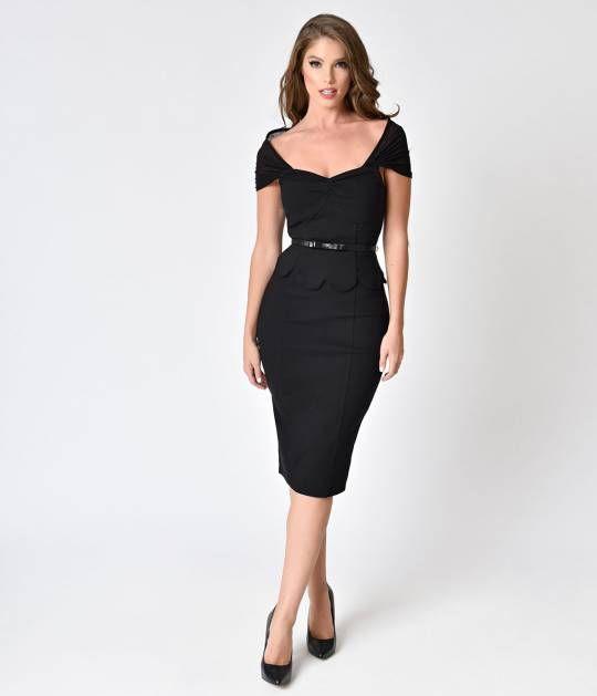 ba9200b75d9 Preorder - Janie Bryant For Unique Vintage Black Peplum St. Regis Wiggle  Dress