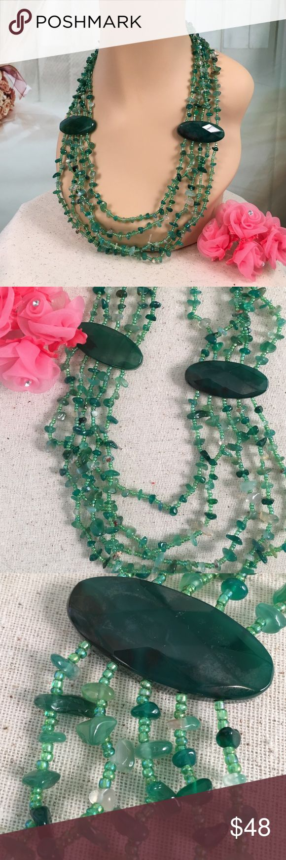 "💞Green Agate, Seed Bead Multi Strand Necklace💞 Beautiful green Agate and seed bead multi strand necklace.  Such a fun piece! 22"" long.  New with tags. Jewelry Necklaces"