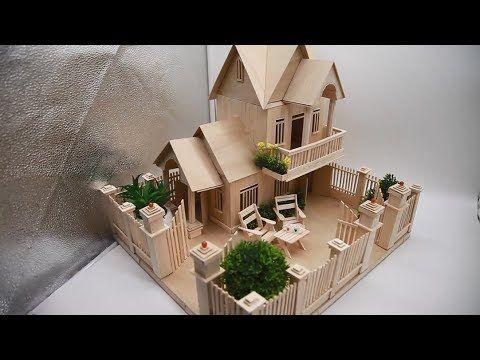Building Popsicle Stick Garden Villa House - Popsicle stick House - Architecture - YouTube