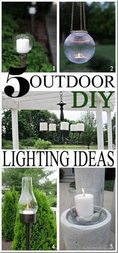 Light Up The Night: Outdoor DIY Lighting Ideas - I kinda have a thing for outdoor lighting. I love the atmosphere it creates for entertaining or just when I am sitting alone outside swinging on my deck swing when dusk arrives. The glow of the candles makes my backyard feel like a tropical getaway – without it – it is just dark – the exterior lights on the house just don't add the same ambiance.