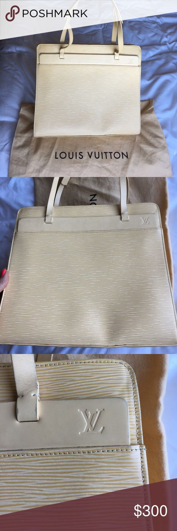 """Louis Vuitton Epi leather Croisette in vanilla Louis Vuitton Epi Leather Croisette in the color vanilla. Beautiful neutral color; perfect for summer and goes with everything! This bag has been used and has some general signs of wear, but overall is in good condition. Dimensions 12""""long 10""""high 4""""wide. Drop is 7"""". I can include the dust bag if buyer requests. Date code pictured LB1010. If you want to see any more photos please just ask. Louis Vuitton Bags Shoulder Bags"""