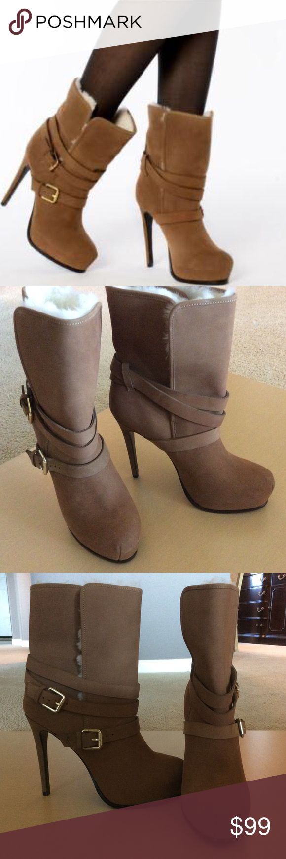 "NWOT Tan Suede Lizzie Platform Ankle Boot NWOT Tan suede Lizzie platform ankle boot. Excellent condition. 5""Heel. No box but will be wrapped and shipped with care. Pour la Victoire Shoes Ankle Boots & Booties"