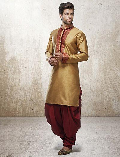 Gold Silk Kurta Patiala Suit For Men  Buy Mens Kurta -7793