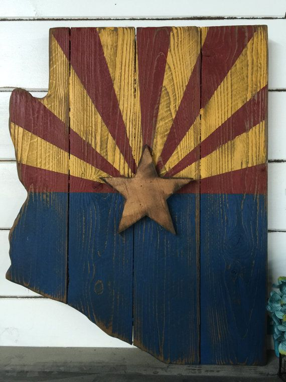Barn Wood Style Arizona Flag Rustice Arizona by LynxCreekDesigns