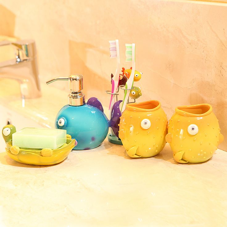 Marine Resin Cartoon Five Pieces Bathroom Set Wedding Gift