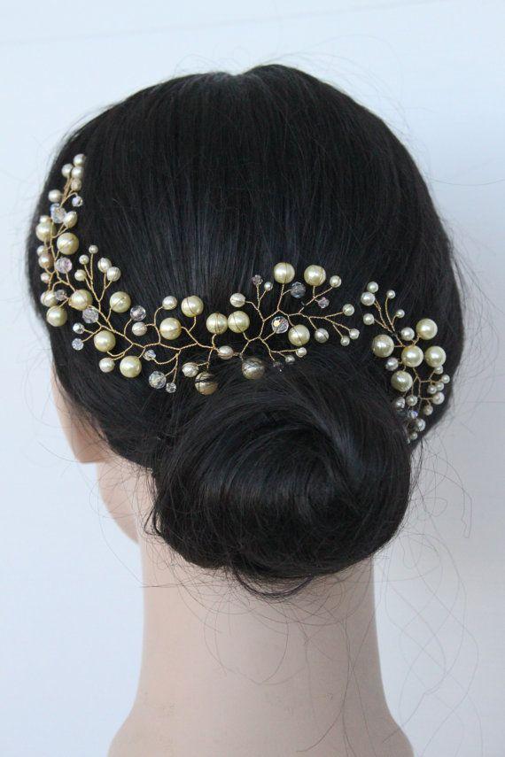 Ivory Pearl Hair Vine with Swarovski Crystals Crown