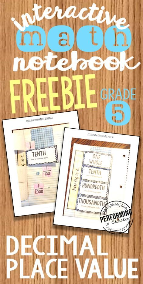 Free interactive notebook pages for 5th grade decimals. These are such a cool way to teach students about decimal place value!