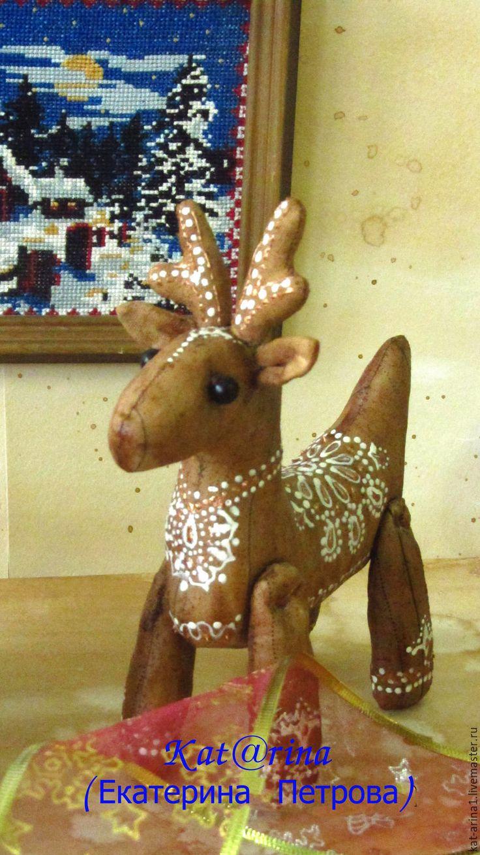 """Купить Новогодний Кофейный олень"""" Белые узоры"""" - коричневый, олень, олень новогодний, олень игрушка"""