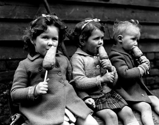 War rationing – carrots on a stick. war rationing was just a way of life during World War Two in the UK. One of the luxuries to hit the rationing list was sugar and with no sugar, there was no ice cream. But the official wartime substitute for ice-cream was a carrot on a stick. Many British children born just before the war didn't discover what ice-cream actually was until the war was over and the rationing stopped. The photos are from 1941