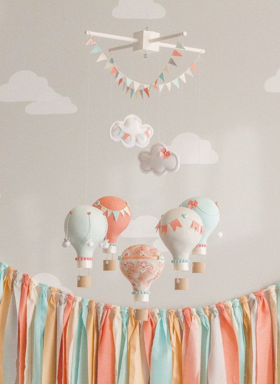 Coral and Aqua Baby Mobile, Hot Air Balloons, Baby Mobile, Travel Theme Nursery, Nursery Decor, Custom Mobile, i64