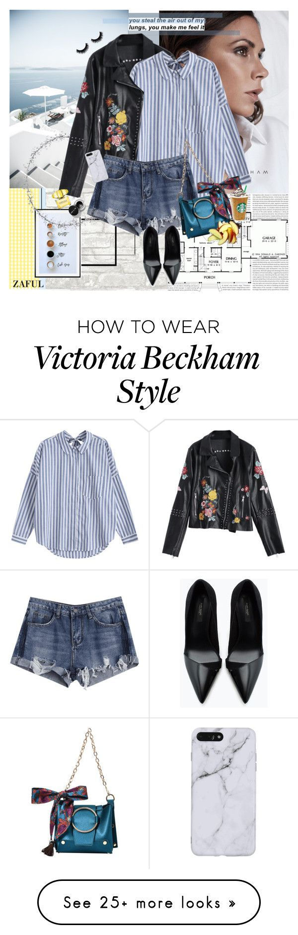 """""""How to style - Striped Shirt (1)"""" by nensy on Polyvore featuring Pottery Barn, Zara, Versace, leatherjacket, everydaystyle, denimshorts, stripedshirt and zaful"""