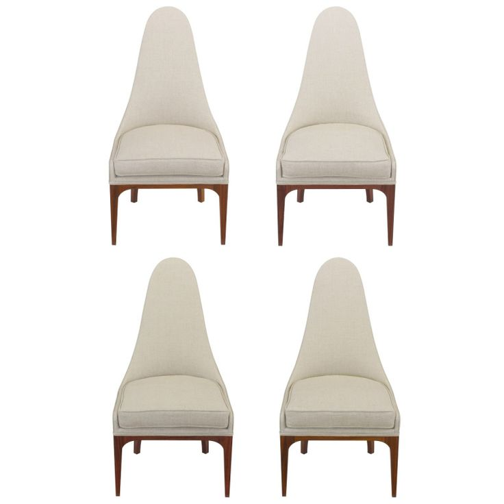 Set Of Four Rosewood And Linen Spoon Back Dining Chairs
