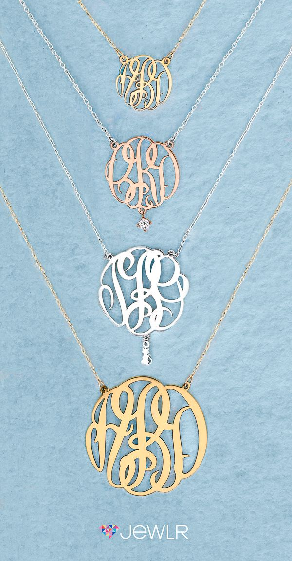 Design your own stunning Monogram Necklace. Choose from 4 sizes and instantly preview your monogram!