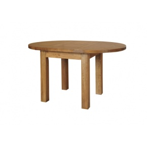 Rustic Solid Oak SRDT03 Round Extendable Table 1250mm  www.easyfurn.co.uk