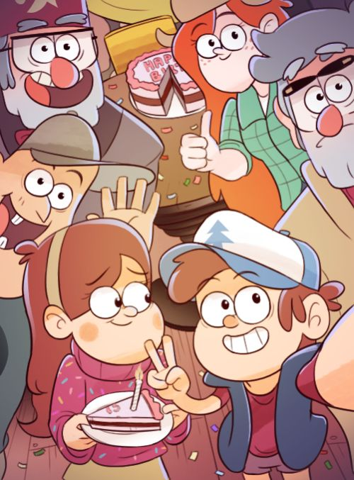 "Hey guys, Mabel here!! TODAY'S THE FOURTH BDAY OF GRAVITY FALLS!!!! HAPPY BDAY TO THE BEST SHOW EVER!!! It's more than ""Just a cartoon."" It brightened up my life, and even the world. We love you Gravity Falls."