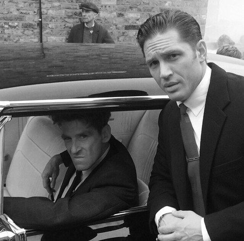 Tom Hardy and Paul Anderson on the set of Legend - Aug. 2014