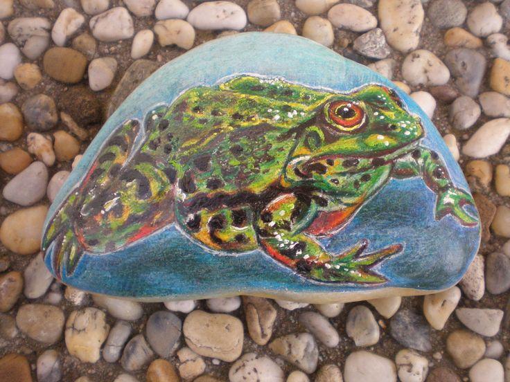 Žabka+Klárka+Dekorativní+kamínek